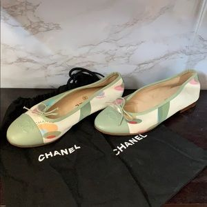 CHANEL Shoes - CHANEL Satin & Leather Ballerinas